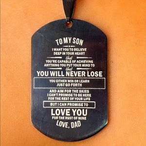 To My Son, Love Dad Military Dog Tag 22 Inch Chain
